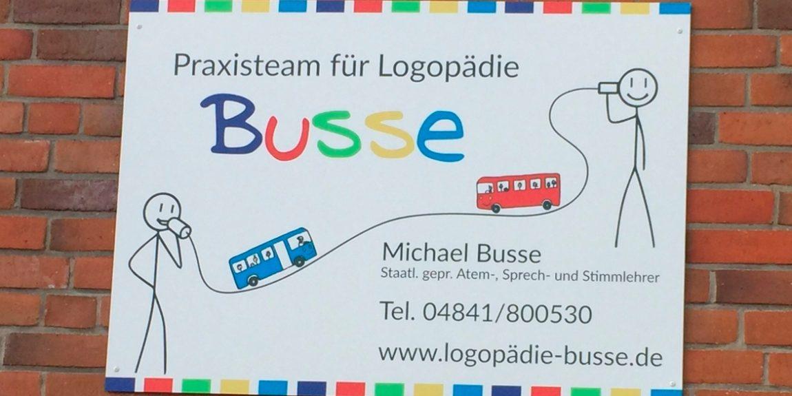 Schild Praxisteam für Logopädie Busse