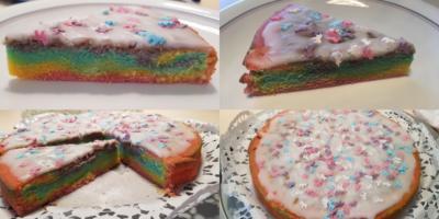 Kuchen in Regenbogen-Farben