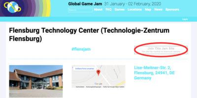 Screenshot Gloal Game Jam Webseite